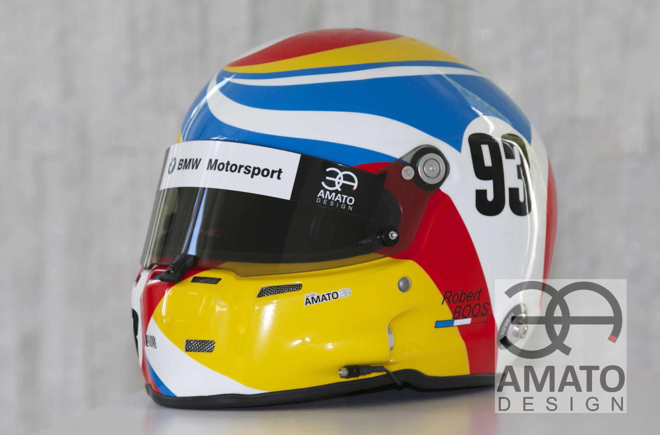 Casque original réalisé par AMATO DESIGN aux couleurs de BMW pour le gentleman driver ROBERT