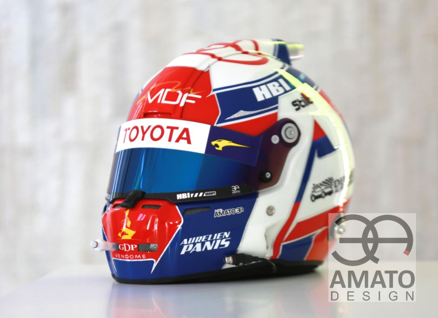 Casque conçu et réalisé par AMATO DESIGN pour Aurélien Panis, coureur TOYOTA pour le FFSA GT4 France.
