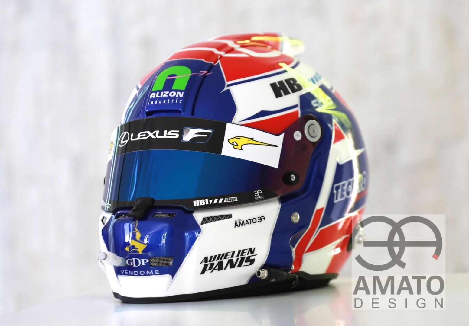 Casque conçu et réalisé par AMATO DESIGN pour Aurélien Panis, coureur LEXUS pour le FFSA GT4 France.