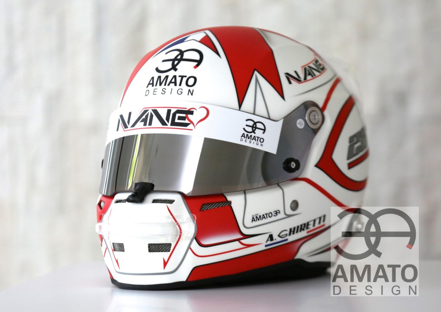 Casque conçu et réalisé par AMATO DESIGN pour le jeune pilote Alessandro Ghiretti, pilote Groupvirage en catégorie LMP3