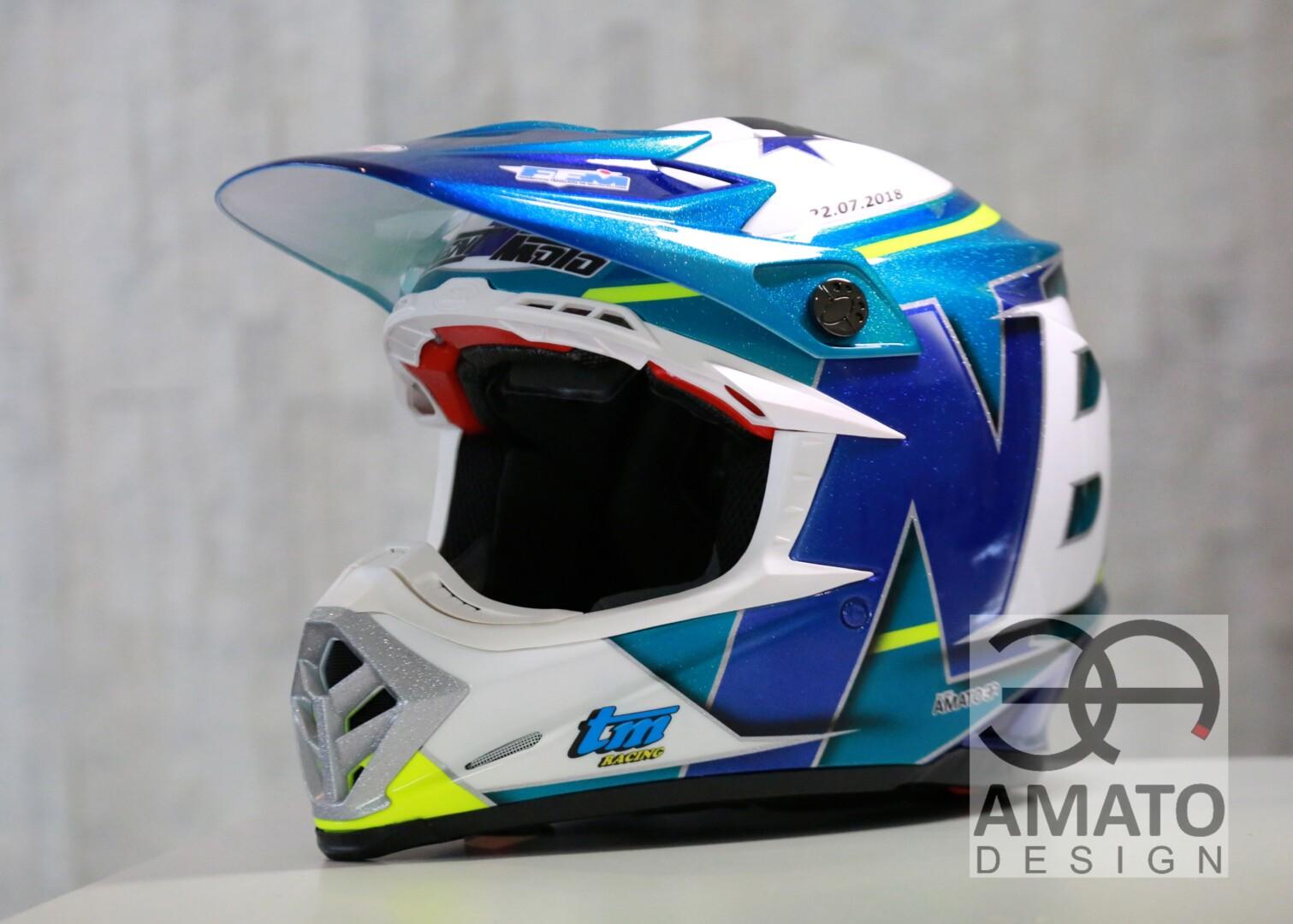 Casque conçu et réalisé par AMATO DESIGN pour Nathan BERERD, pilote motocross courant en championnat de France et international.