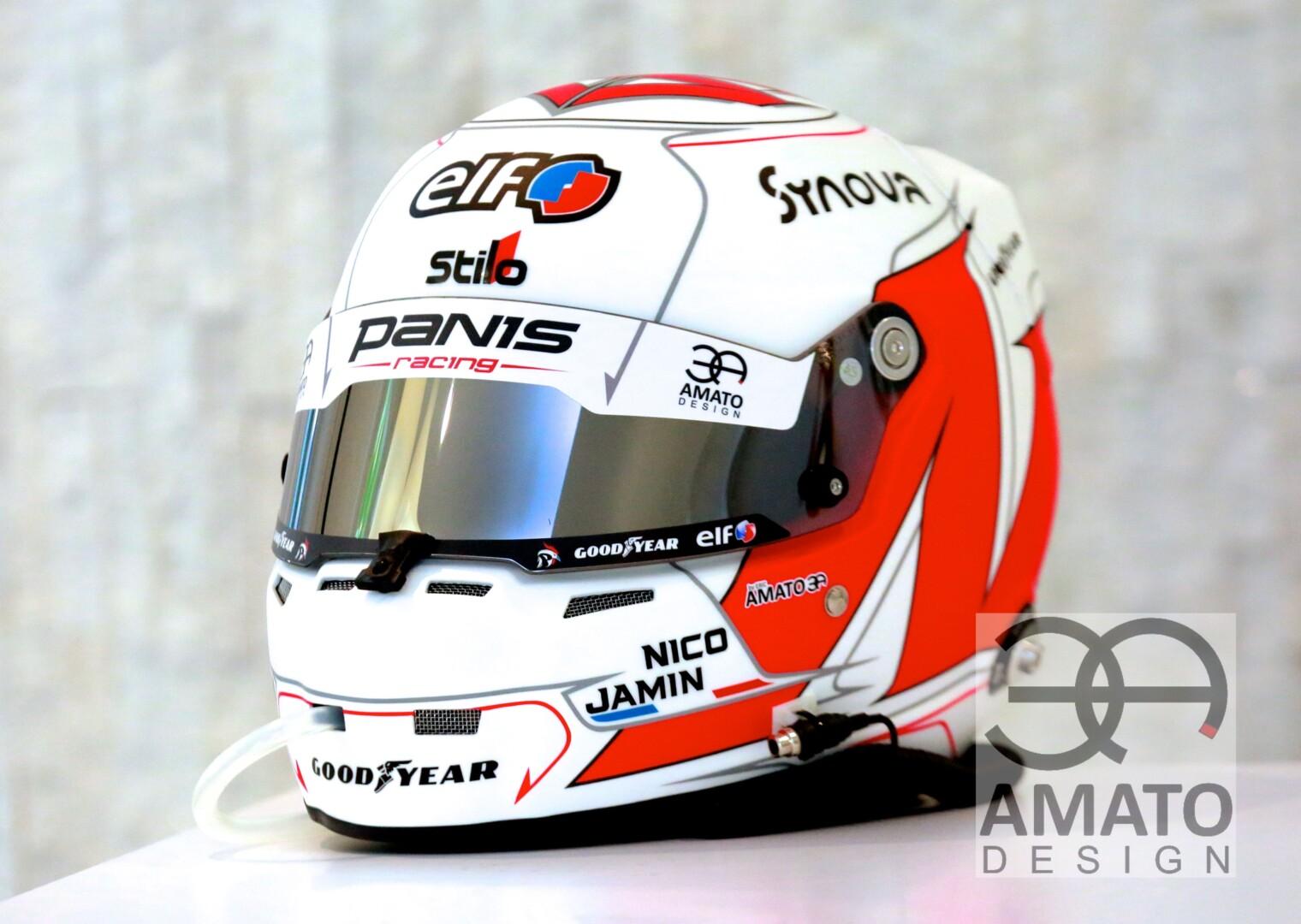 Casque conçu et designé pour le pilote automobile Nicolas Jamin, pilote pour l'écurie Panis Racing et présent aux 24 heures du Mans 2020